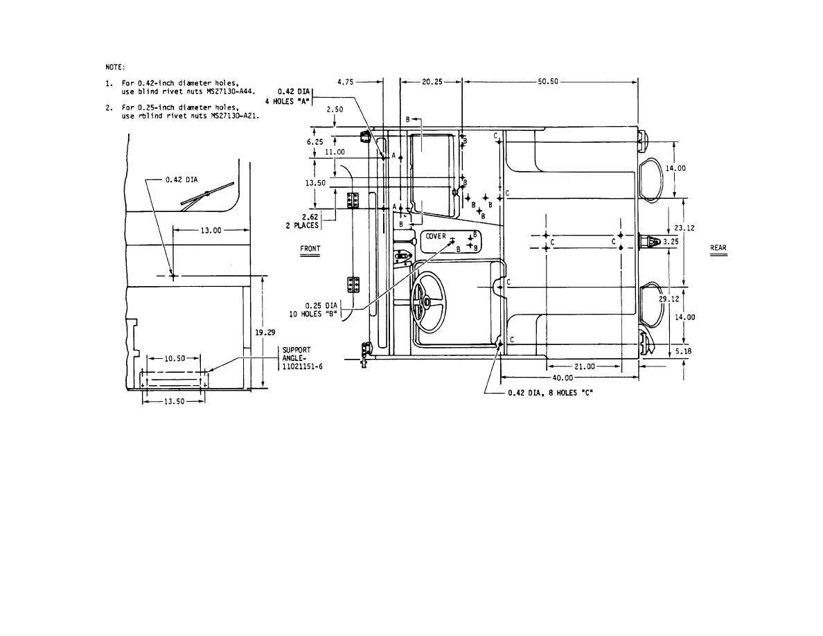M151a2 Diagramsa Wire Diagrams M151a1 Wiring Diagram Figure 3 Hole Dimensions And Location For Mounted Components