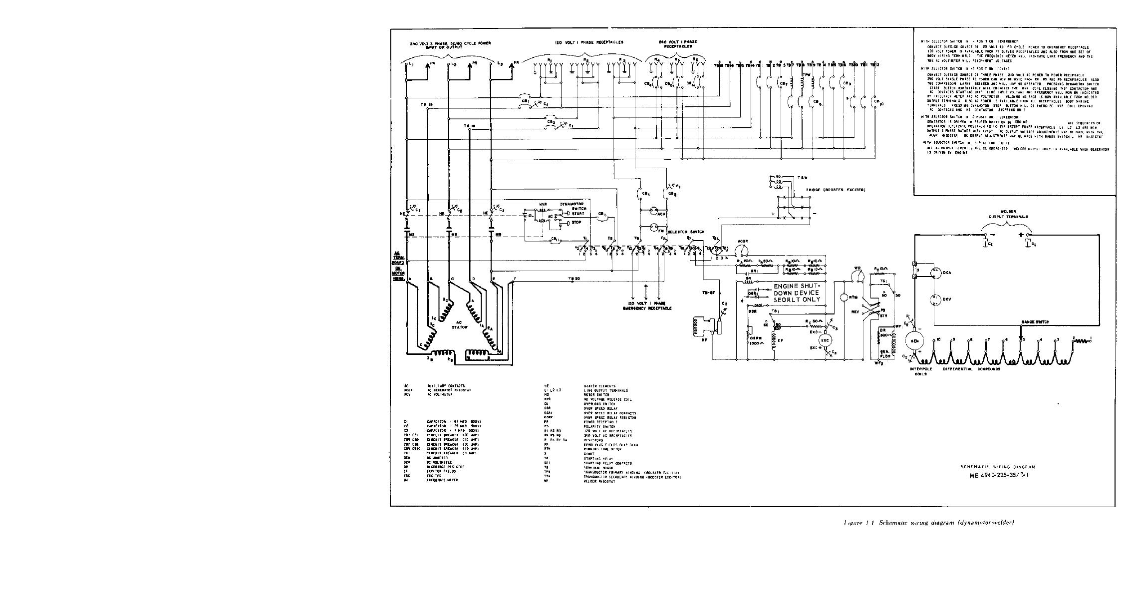 Figure 1 Schematic Wiring Diagram Dynamotor Welder 240 Volt